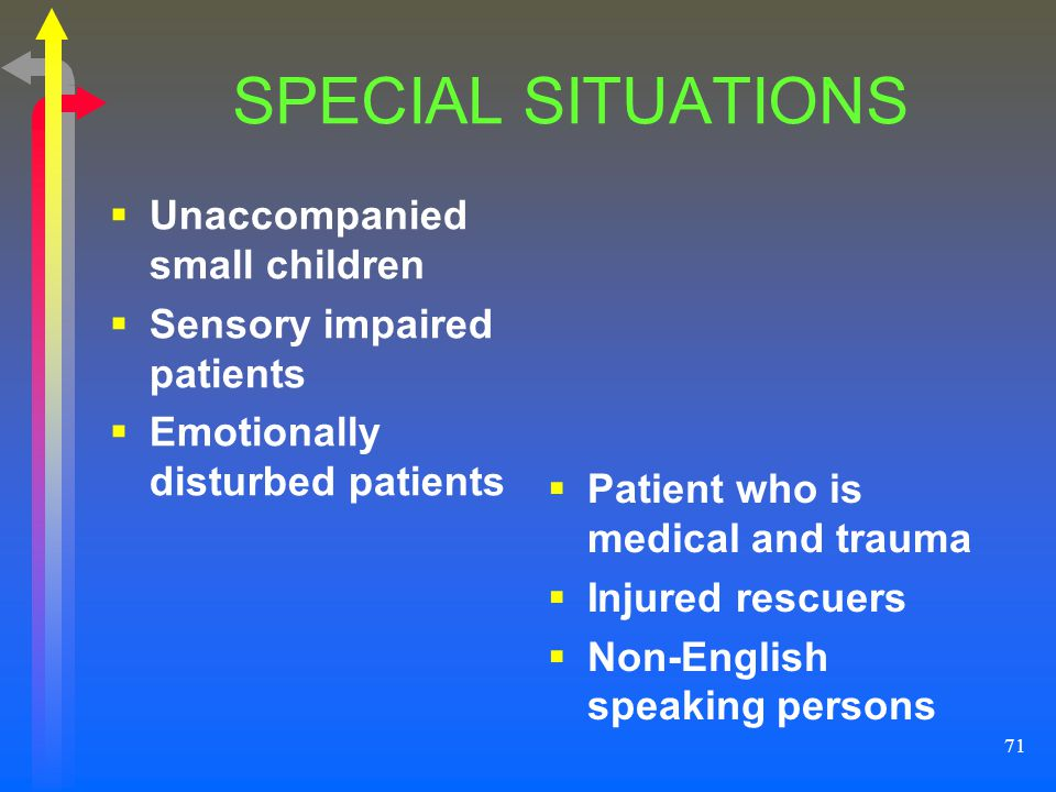 SPECIAL SITUATIONS Unaccompanied small children