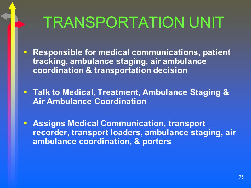 TRANSPORTATION UNIT Responsible for medical communications, patient tracking, ambulance staging, air ambulance coordination & transportation decision.