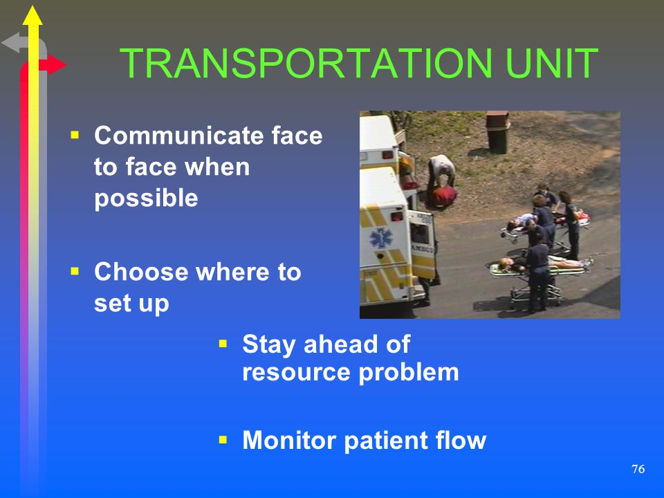 TRANSPORTATION UNIT Communicate face to face when possible