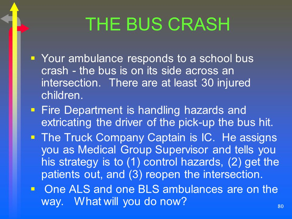 THE BUS CRASH Your ambulance responds to a school bus crash - the bus is on its side across an intersection. There are at least 30 injured children.