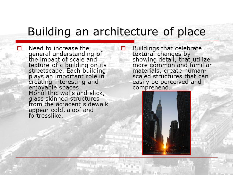 Building an architecture of place