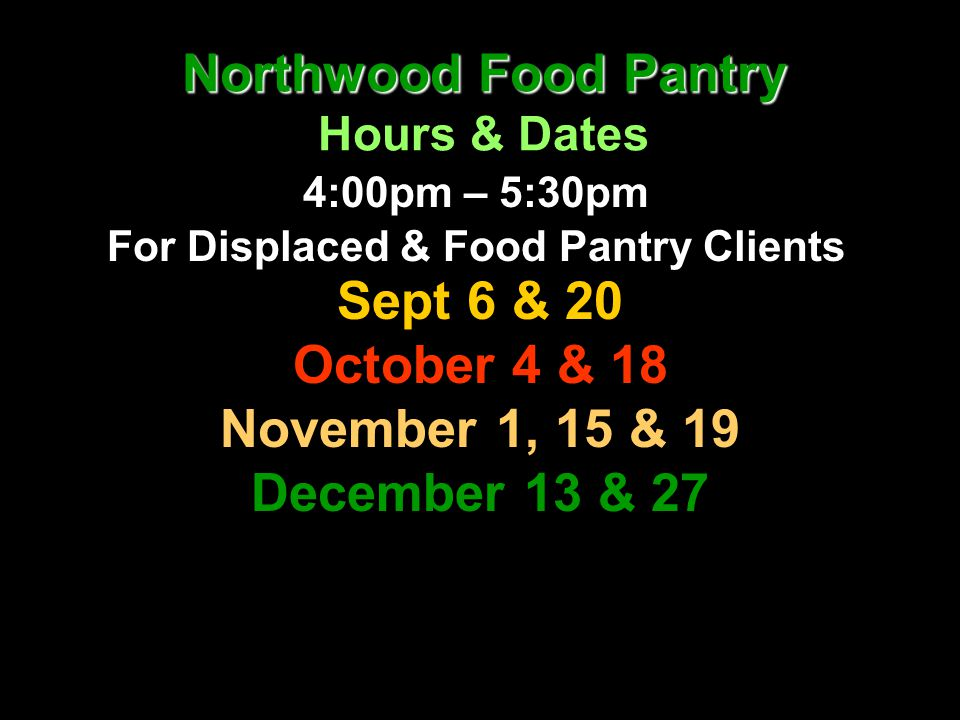 Northwood Food Pantry Hours & Dates
