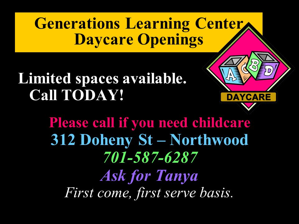 Generations Learning Center Daycare Openings
