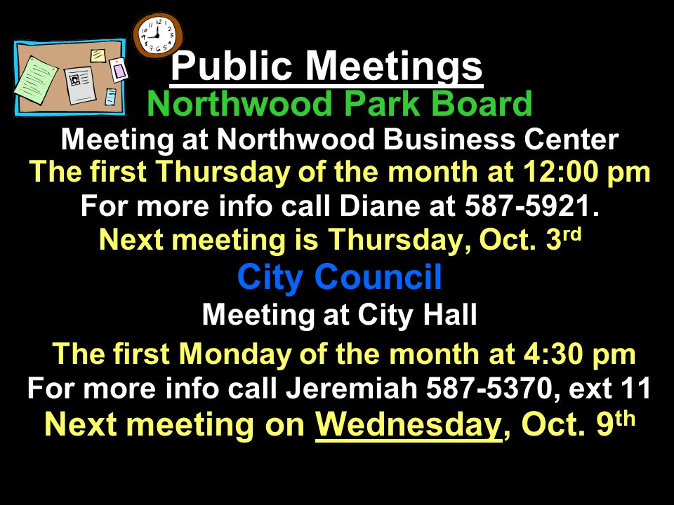 Public Meetings Northwood Park Board City Council