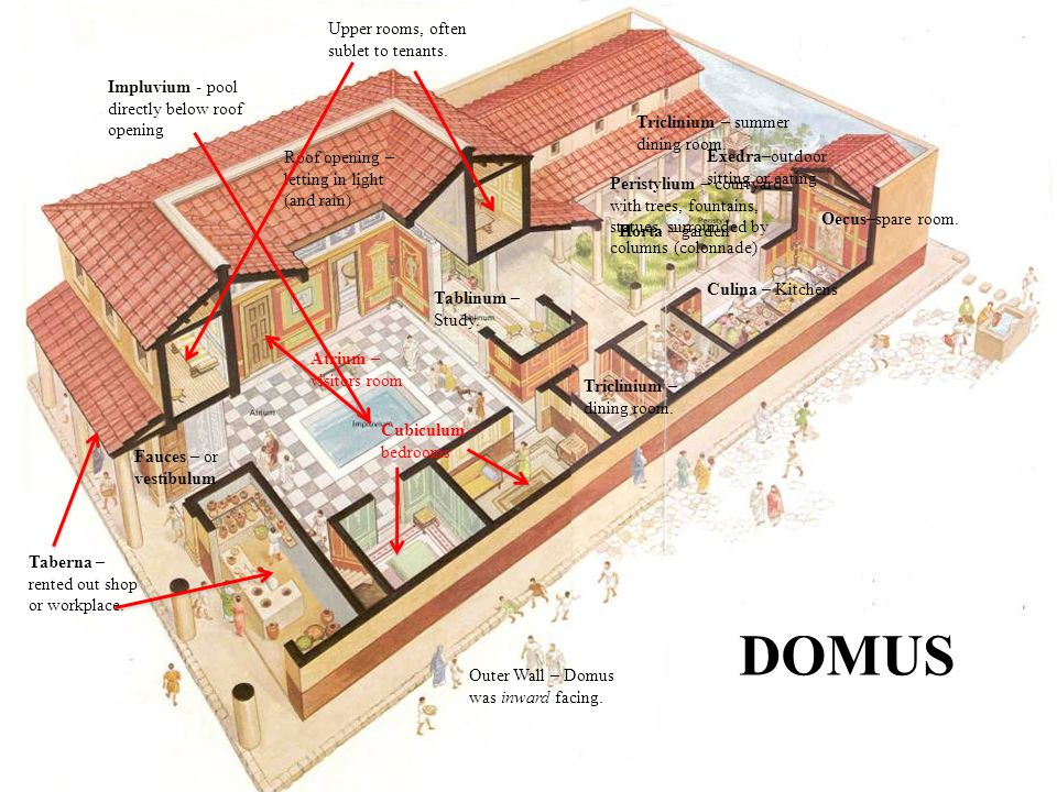 The Roman domus DOMUS Upper rooms, often sublet to tenants.