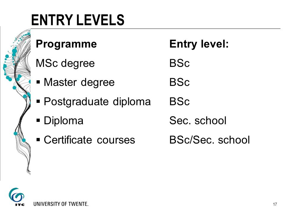 ENTRY LEVELS Programme Entry level: MSc degree BSc Master degree BSc