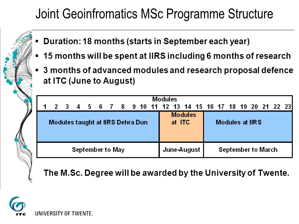 Joint Geoinfromatics MSc Programme Structure