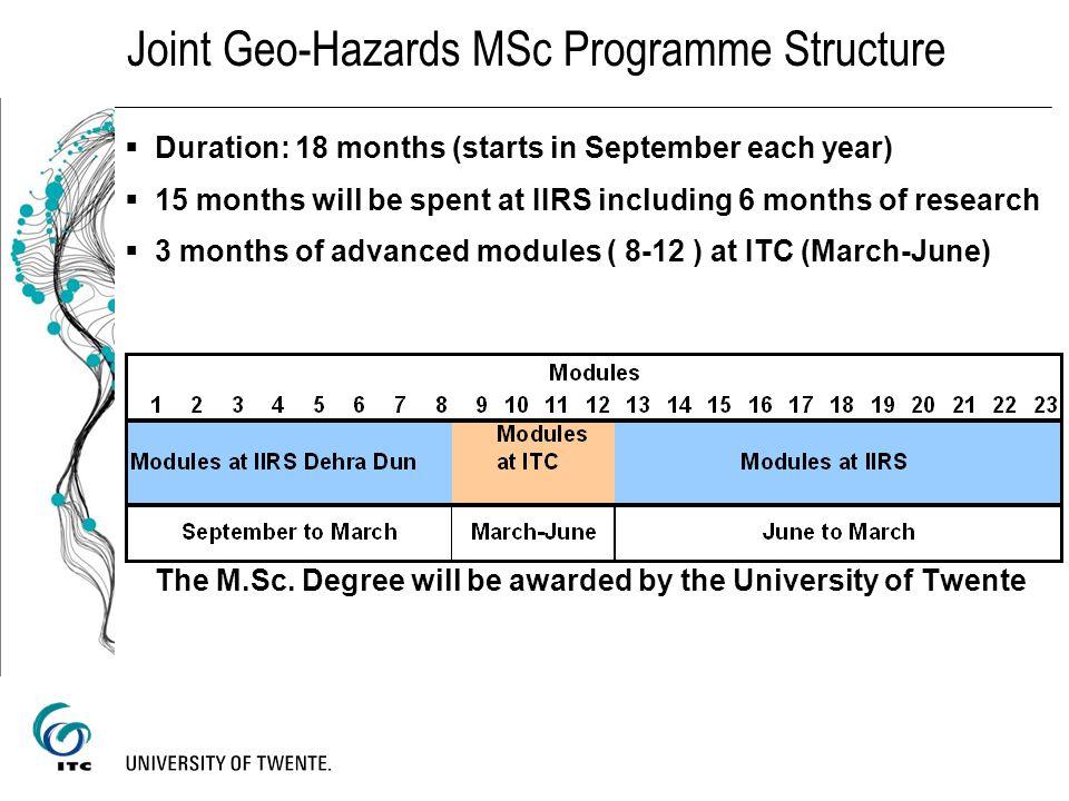 Joint Geo-Hazards MSc Programme Structure