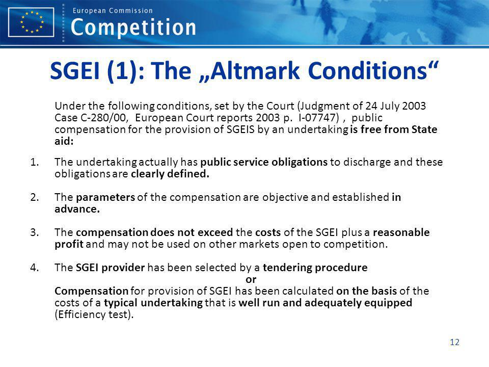 "SGEI (1): The ""Altmark Conditions"