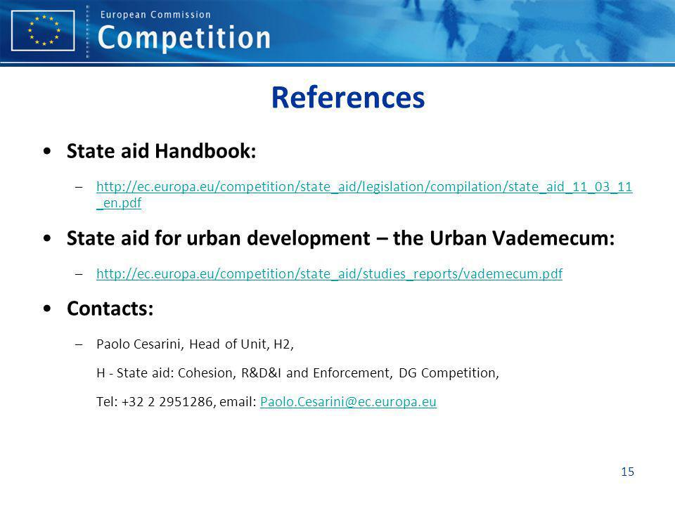 References State aid Handbook: