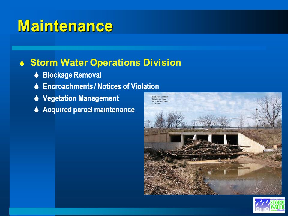 Maintenance Storm Water Operations Division Blockage Removal