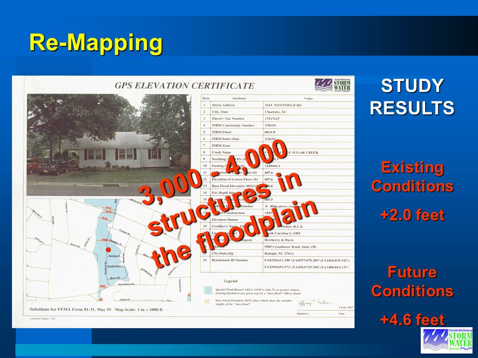 3,000 - 4,000 structures in the floodplain