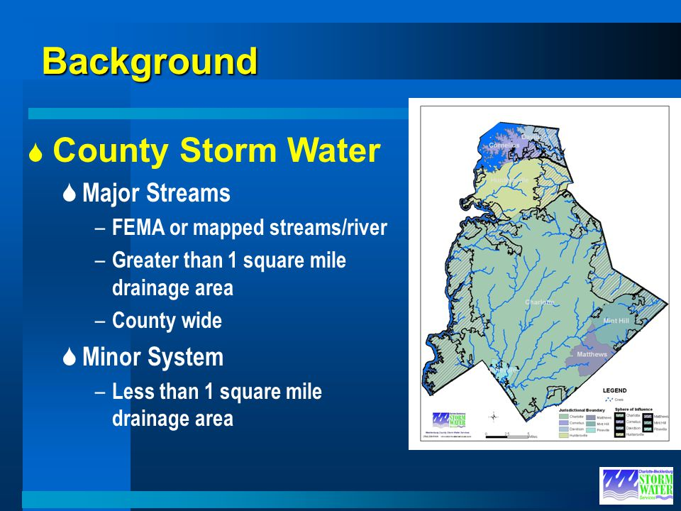 Background County Storm Water Major Streams Minor System