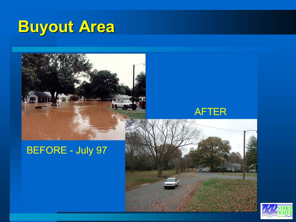 Buyout Area BEFORE - July 97 AFTER BEFORE AFTER High Water