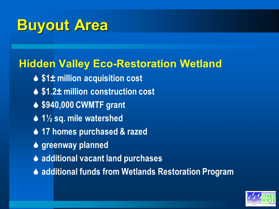 Buyout Area Hidden Valley Eco-Restoration Wetland