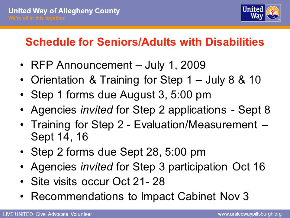 Schedule for Seniors/Adults with Disabilities