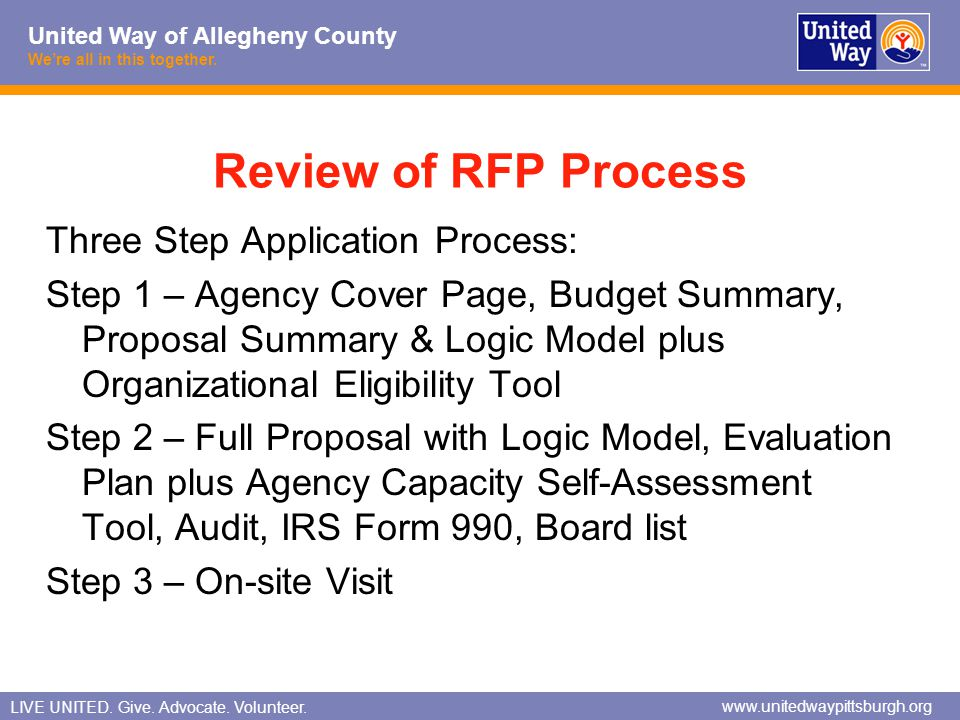Review of RFP Process Three Step Application Process: