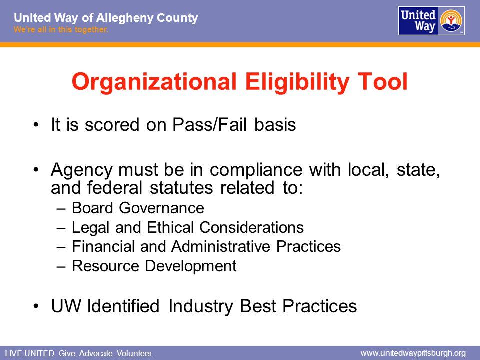 Organizational Eligibility Tool