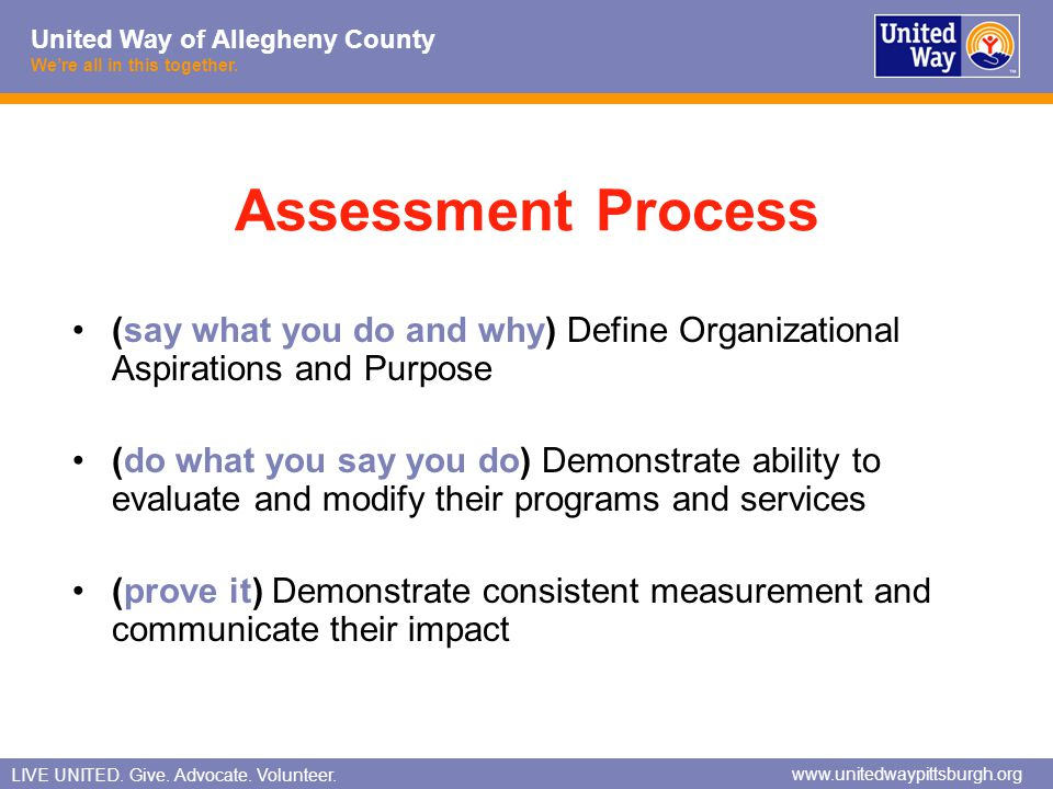 Assessment Process (say what you do and why) Define Organizational Aspirations and Purpose.