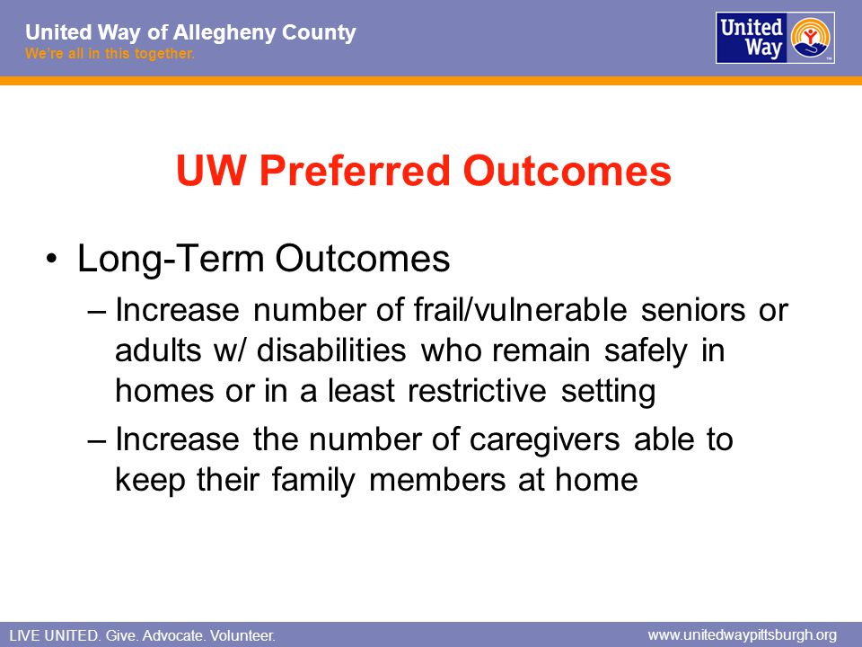 UW Preferred Outcomes Long-Term Outcomes
