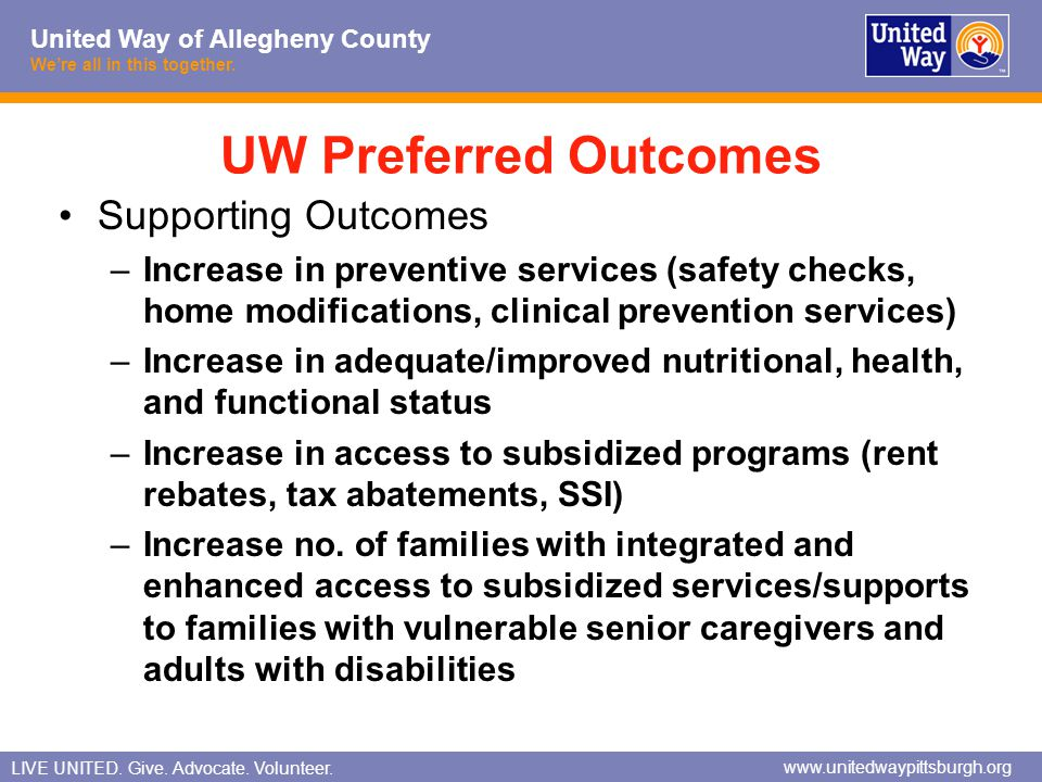 UW Preferred Outcomes Supporting Outcomes