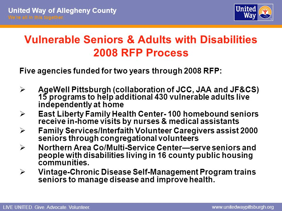 Vulnerable Seniors & Adults with Disabilities 2008 RFP Process
