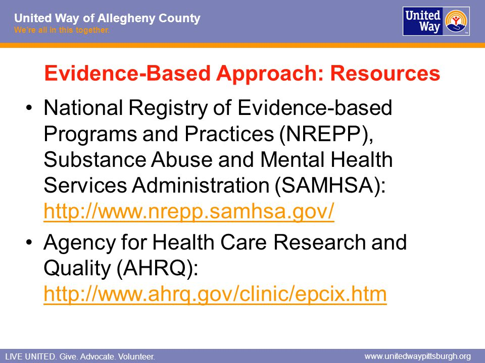 Evidence-Based Approach: Resources