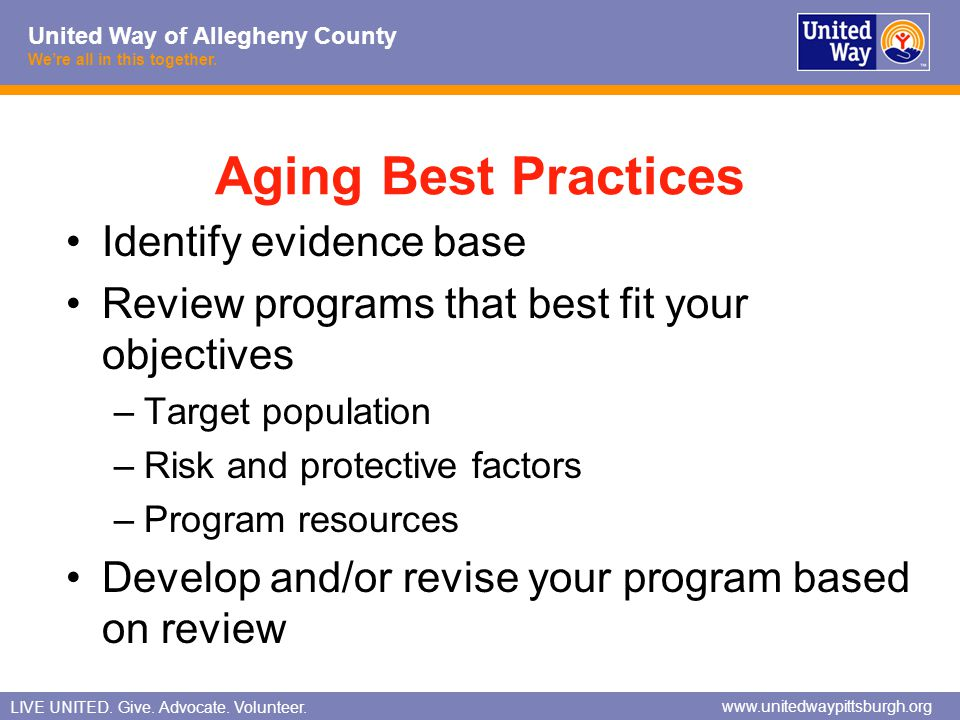Aging Best Practices Identify evidence base