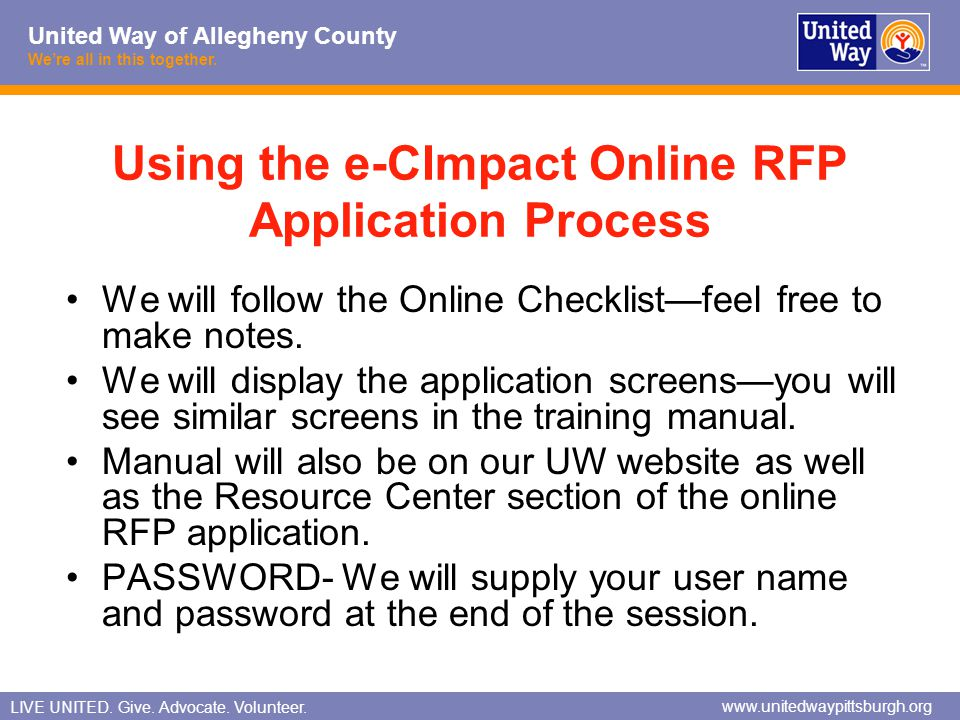 Using the e-CImpact Online RFP Application Process