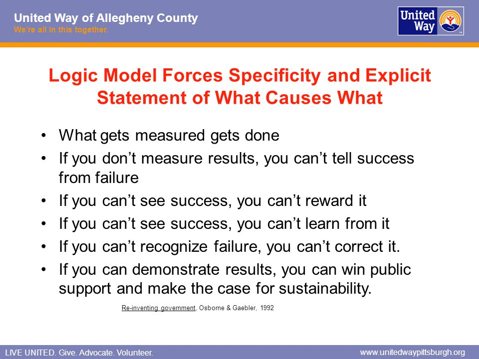 Logic Model Forces Specificity and Explicit Statement of What Causes What