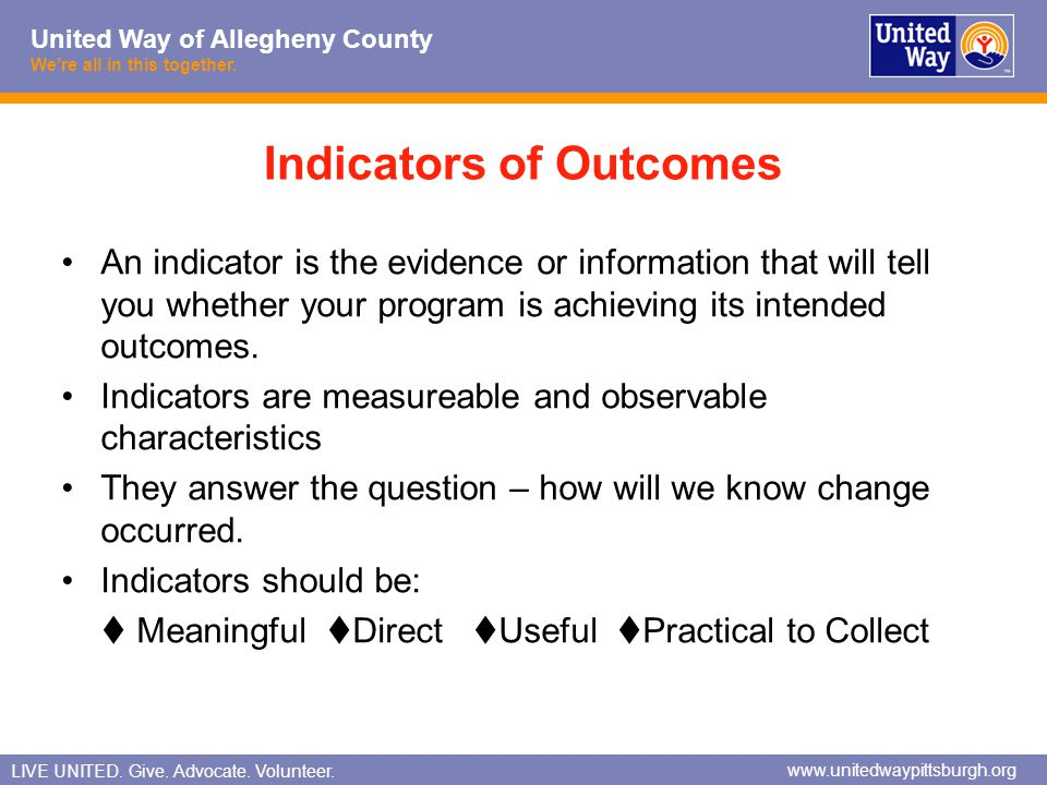 Indicators of Outcomes