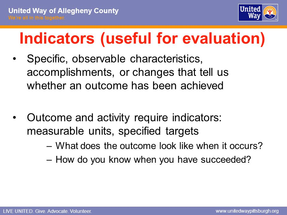 Indicators (useful for evaluation)