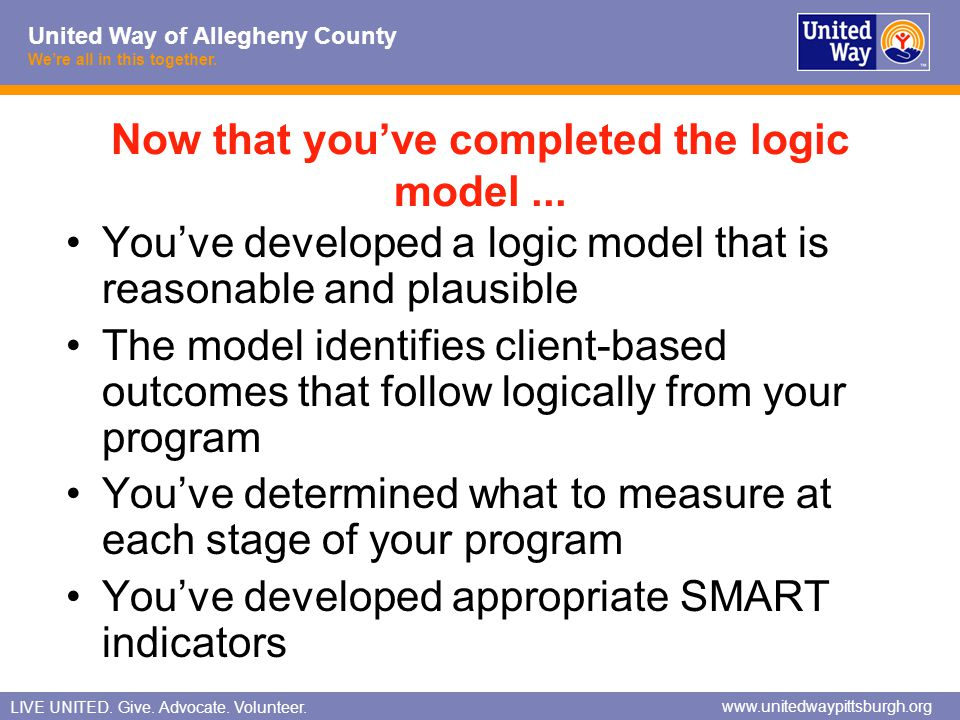 Now that you've completed the logic model ...