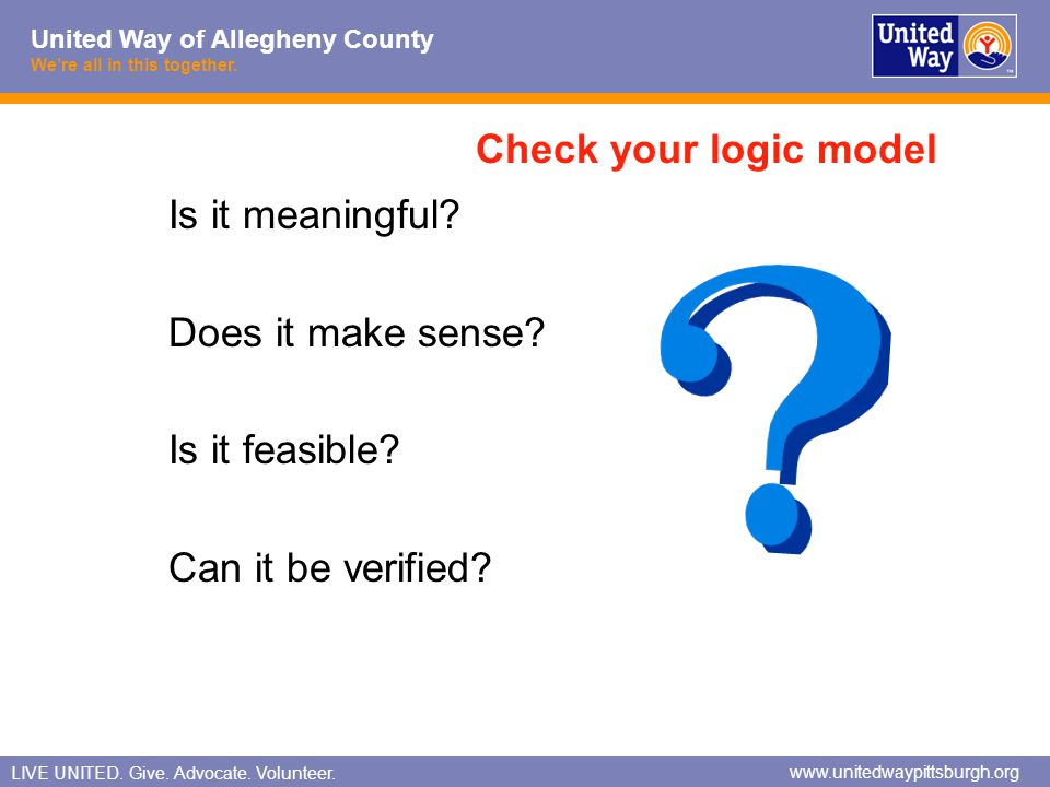 Check your logic model Is it meaningful Does it make sense