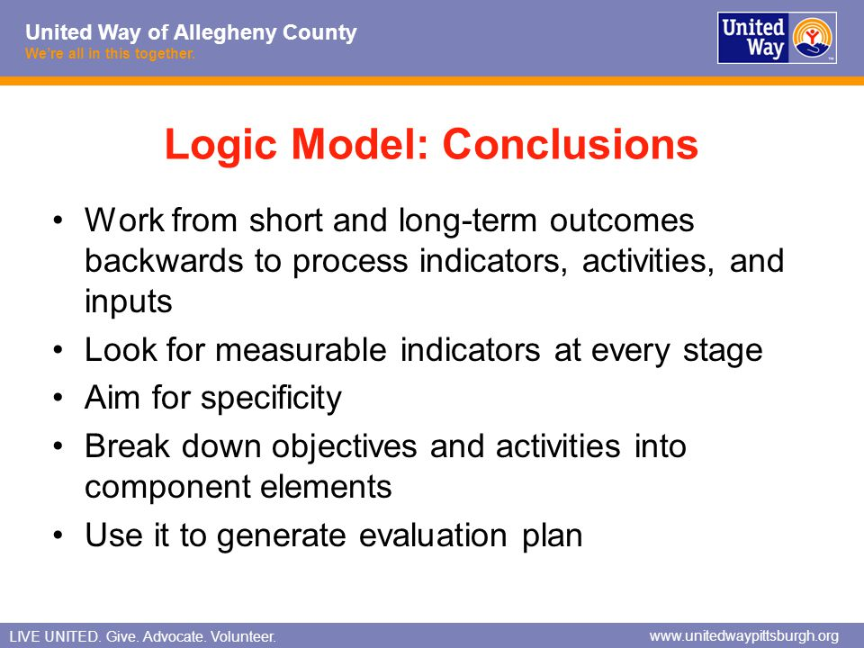 Logic Model: Conclusions