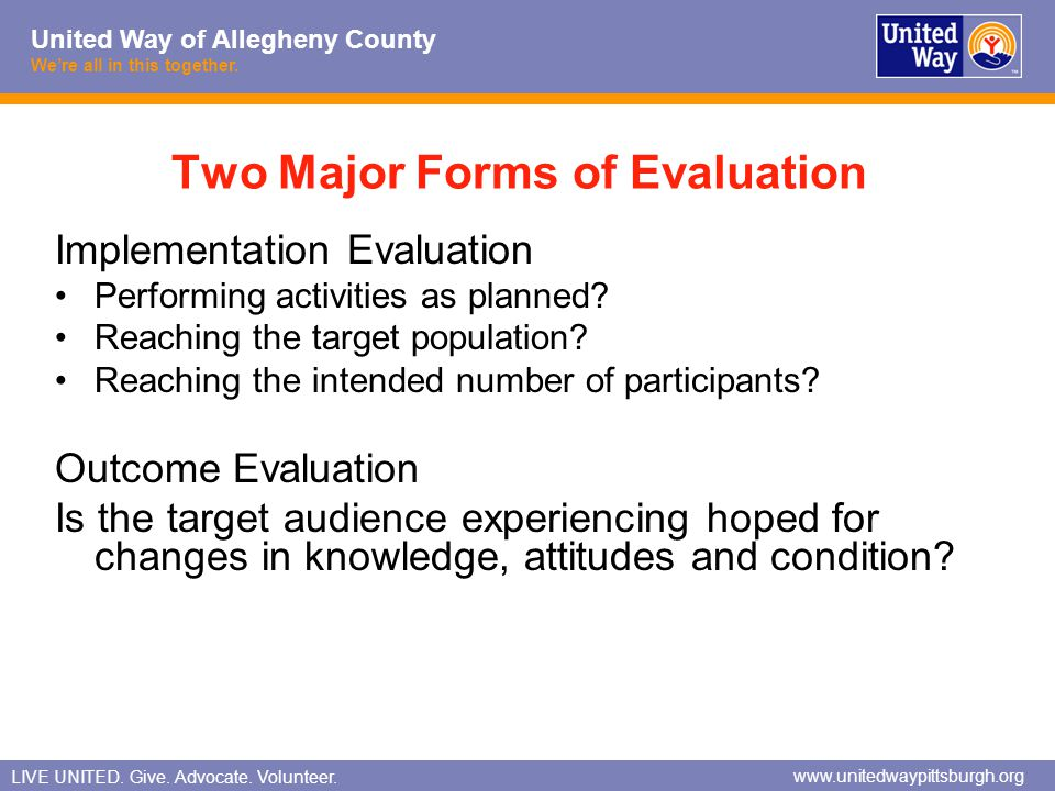 Two Major Forms of Evaluation