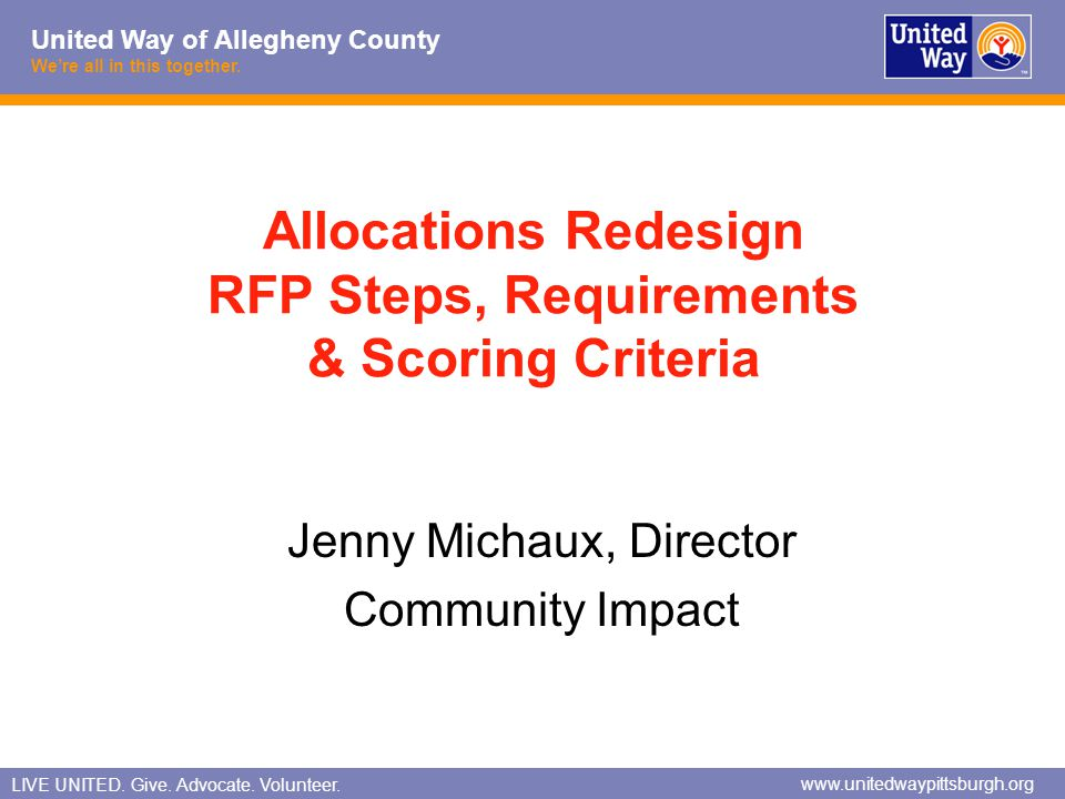 Allocations Redesign RFP Steps, Requirements & Scoring Criteria
