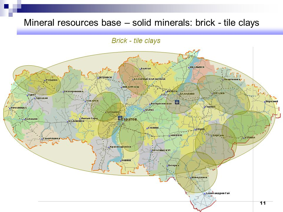 Mineral resources base – solid minerals: brick - tile clays