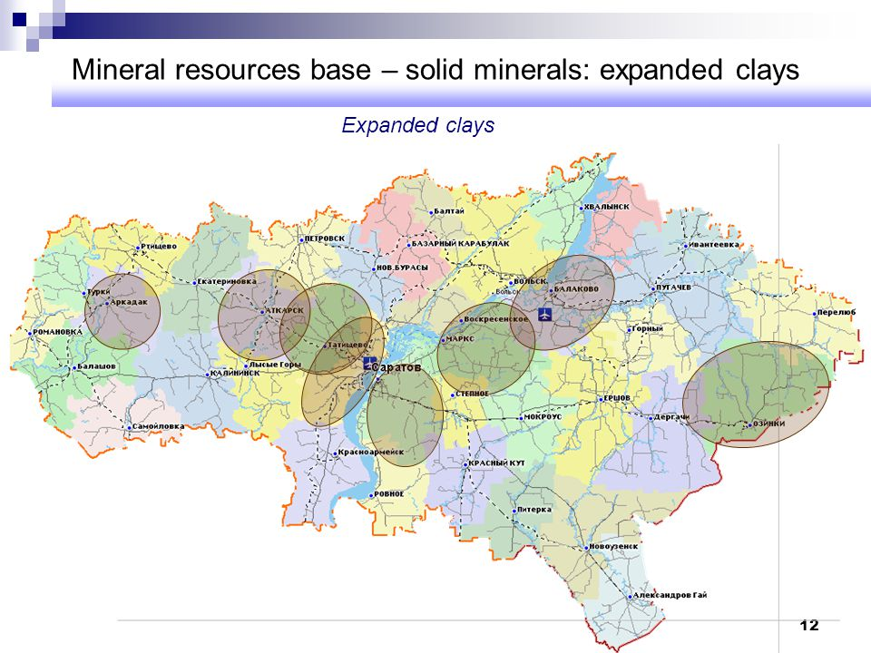 Mineral resources base – solid minerals: expanded clays