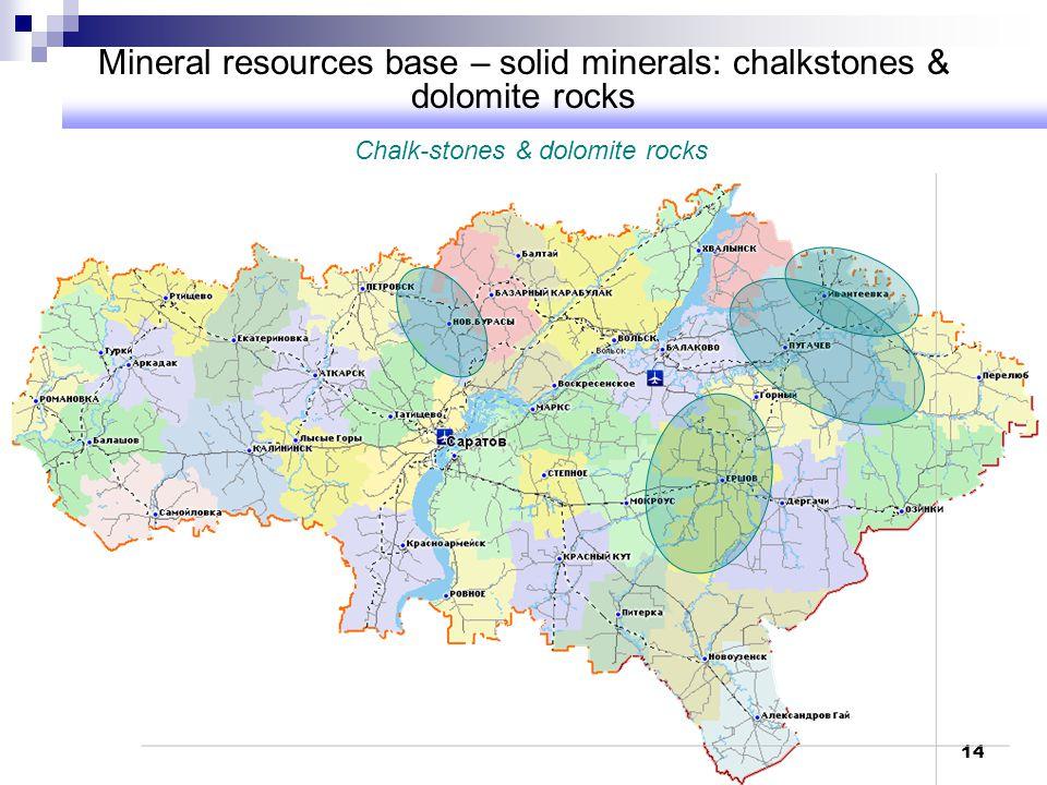 Mineral resources base – solid minerals: chalkstones & dolomite rocks