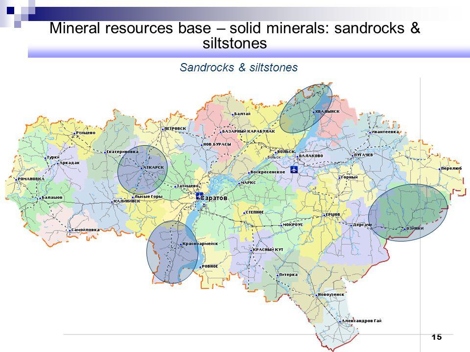 Mineral resources base – solid minerals: sandrocks & siltstones