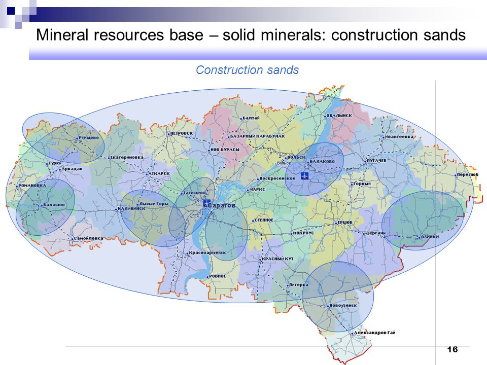 Mineral resources base – solid minerals: construction sands