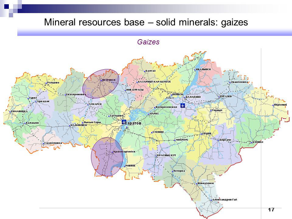 Mineral resources base – solid minerals: gaizes
