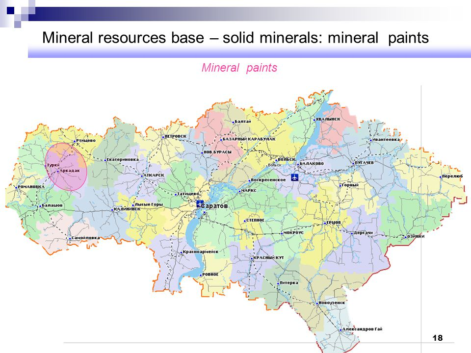 Mineral resources base – solid minerals: mineral paints