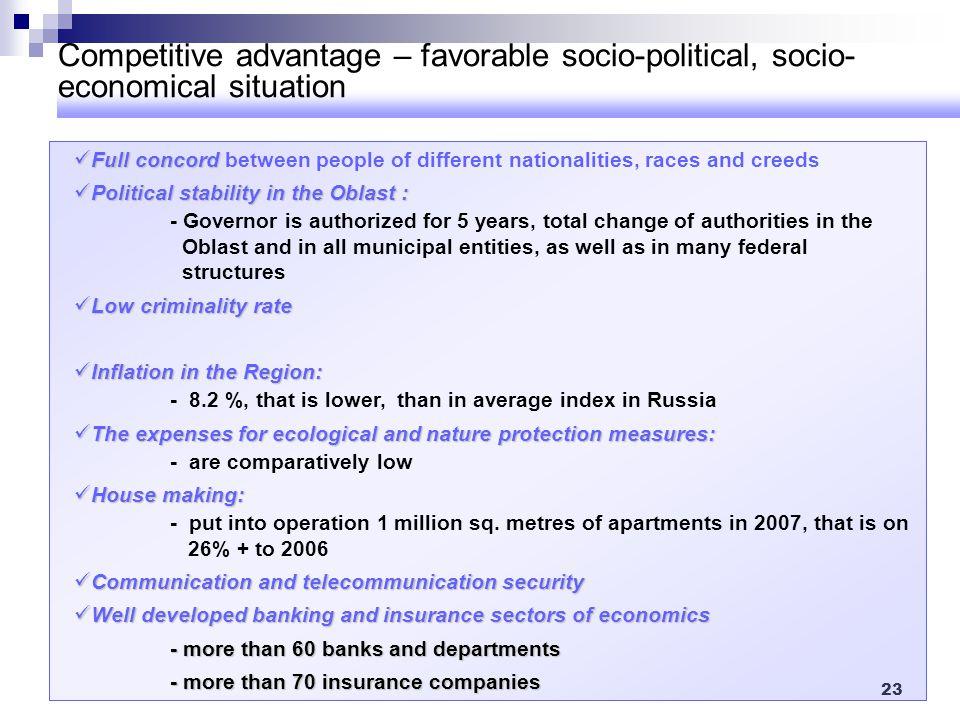 Competitive advantage – favorable socio-political, socio-economical situation