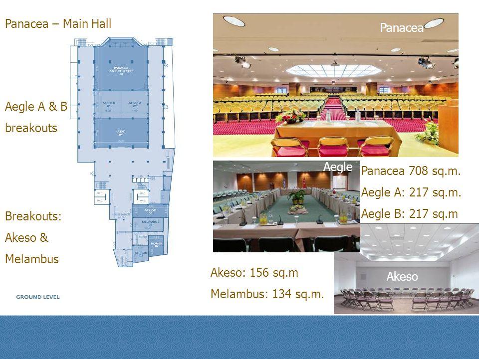 Panacea – Main Hall Panacea. Aegle A & B. breakouts. Aegle. Panacea 708 sq.m. Aegle A: 217 sq.m.