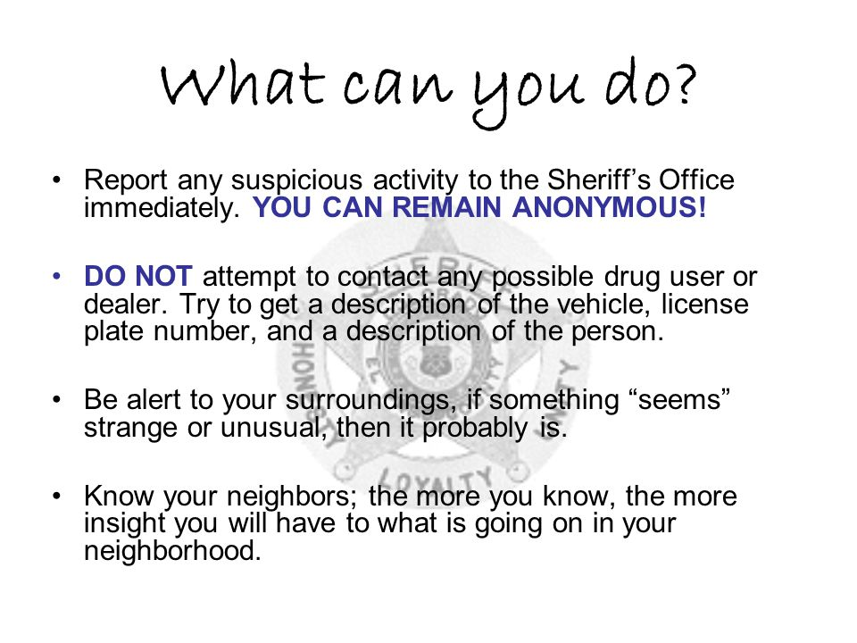What can you do Report any suspicious activity to the Sheriff's Office immediately. YOU CAN REMAIN ANONYMOUS!