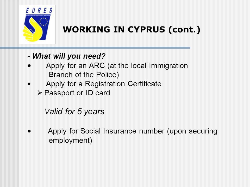 WORKING IN CYPRUS (cont.)
