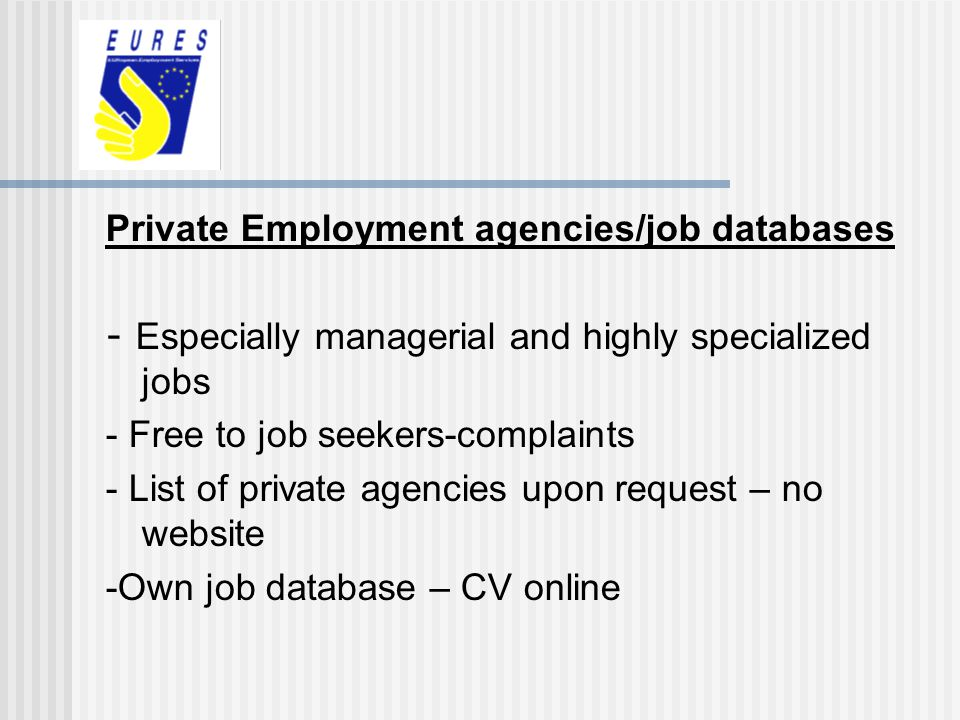 Private Employment agencies/job databases