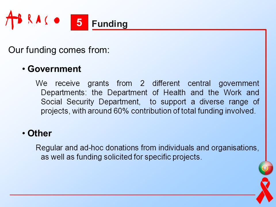 5 Funding Our funding comes from: Government Other